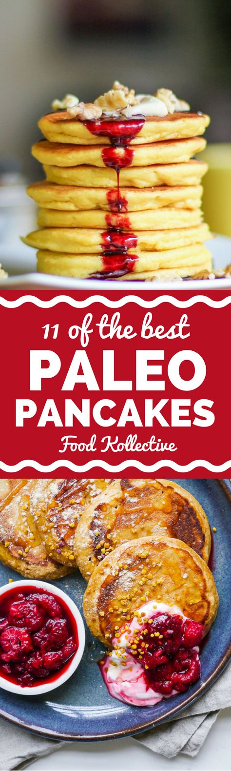 I was looking for the best Paleo pancakes and these look perfect! There are recipes with coconut flour, banana, pumpkin, and more. They would be perfect for a grain free brunch or Paleo breakfast. Collected on FoodKollective.com