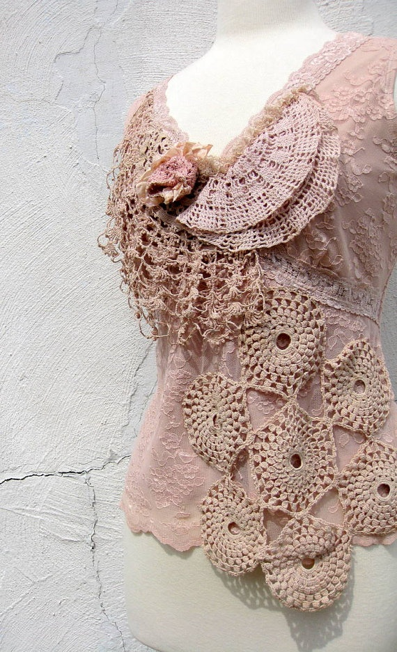 Lace Top in Pale Pink and Ecru With Vintage by stacyleighatelier, $165.00
