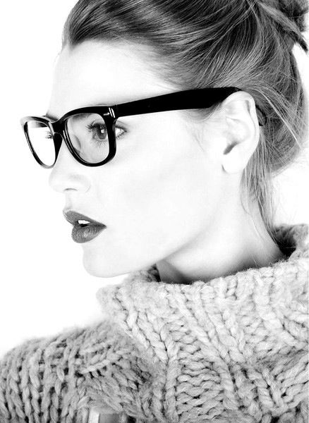 Love glasses.  More people should wear them!  Love the sweater too and not too tight around the neck so makes it more alluring.
