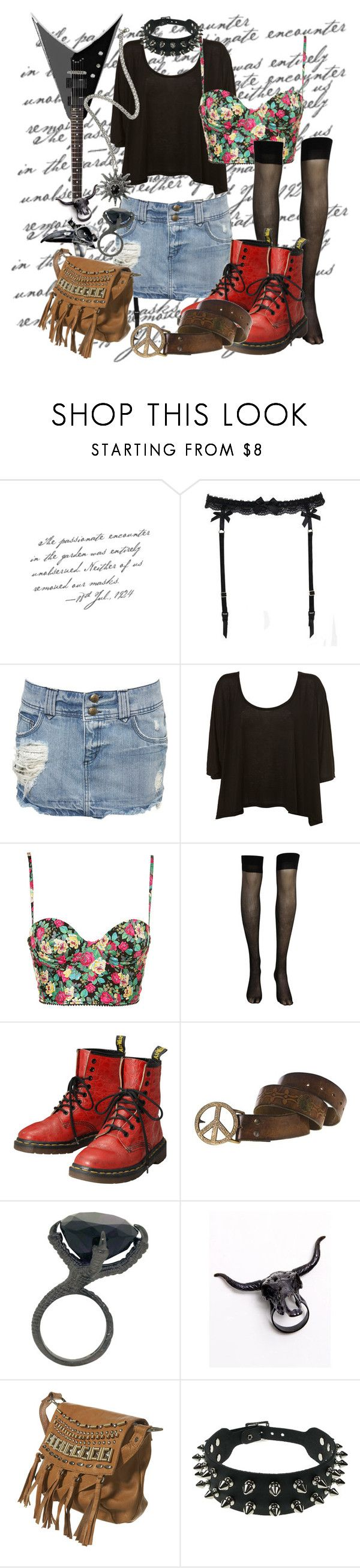 """""""black guitar"""" by mademoisellevampire ❤ liked on Polyvore featuring Reger by Janet Reger, Miss Selfridge, CO, Dr. Martens, Ugo Cacciatori, Alkemie, by Matina Amanita, LAS Jewelry and Topshop"""