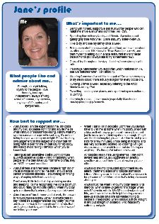 Jane's one-page profile living with a long-term health condition. Read Jane's one-page profile in full http://onepageprofiles.files.wordpress.com/2013/11/5-janes-one-page-profile-from-jane-bayley.pdf