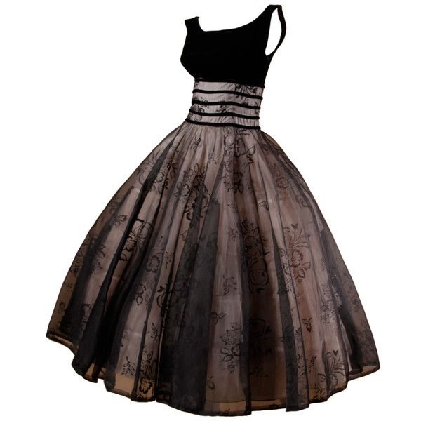 Vintage 1950's Black Organza Burn Out Velvet Party Dress ❤ liked on Polyvore