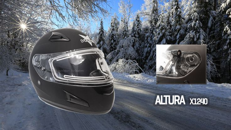 Casque de motoneige et VTT – Altura X1240 (vitre électrique) - Price:149.99  Casque de motoneige et VTTVega X1240 avec une vitre électrique, un fil électrique, un masque cache-nez anti-froid.  Vega X1240 full face helmet in Flat Black. Wick-dri anti-microbial fabric comfort fit liner cradles the head Chin, forehead, mouth and rear vents provide ventilation 9 different shield options available: tints, mirrors and anti-fog Meets or exceeds […]  Cet article Casque de motoneige et VTT – Altura…