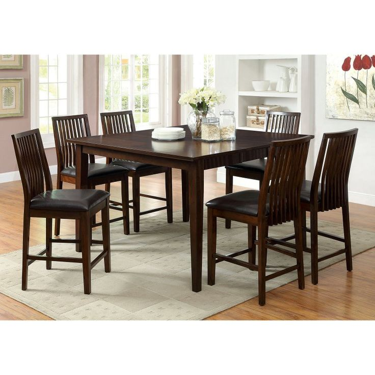 Furniture Of America Alliani 7 Piece Counter Height Dining Table Set