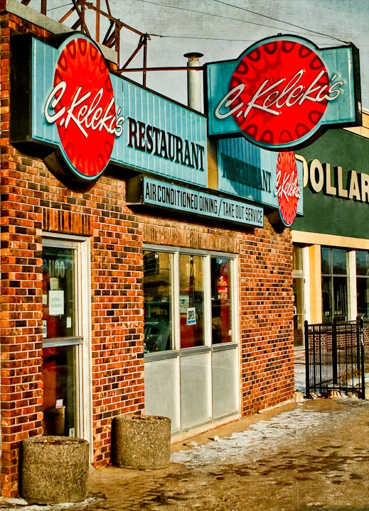 Kelekis Restaurant at Main street and Redwood (Winnipeg). Sadly the owner now getting up in years decided to close it's doors, another landmark is gone forever but not forgotten. Best hotdogs in Winnipeg.