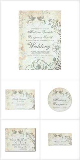 Vintage Love Birds Floral Wedding Invitation Set