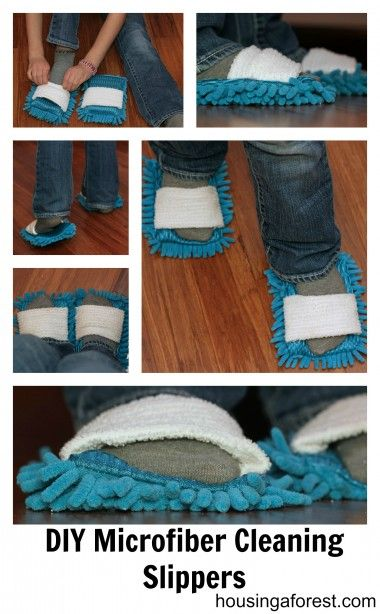 DIY Microfiber Cleaning Slippers ~ the kids might actually have fun cleaning!