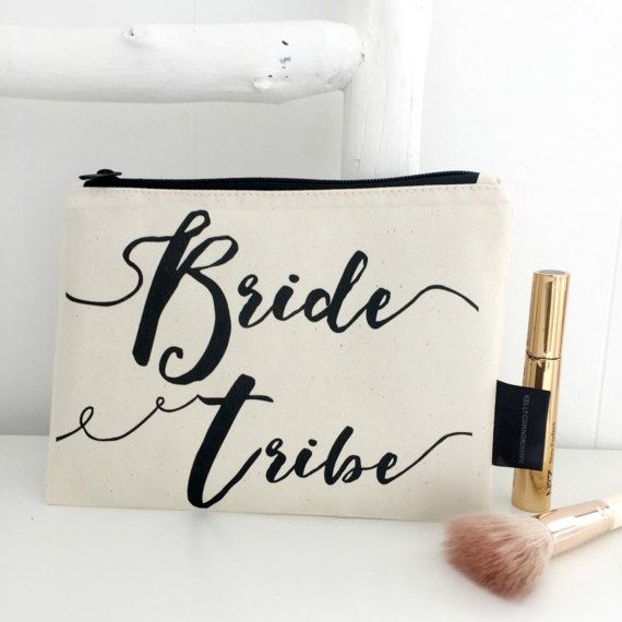 Let everyone know you're part of the Bride tribe with these make-up bags.