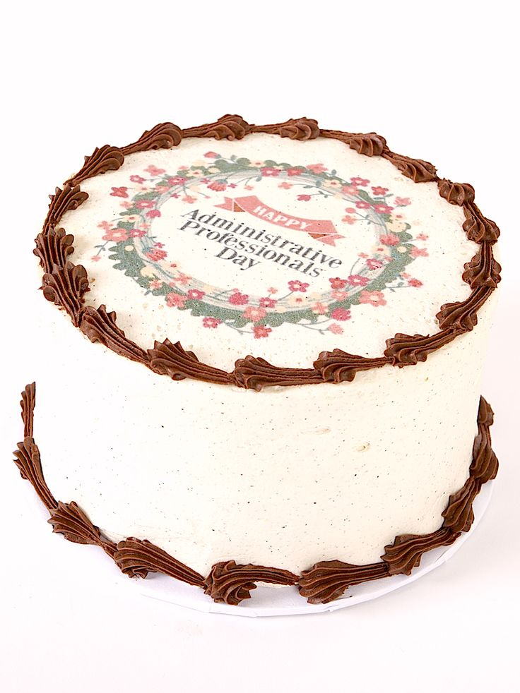 Order this cake for your favourite Administrative Professionals! Download the image to include with this cake here: https://www.pinterest.com/prairiegirlbake/administrative-professionals-day/