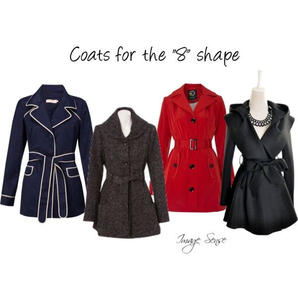 """Coats for the ""8"" shape""(hourglass figure) by imagesense on Polyvore #hourglass"