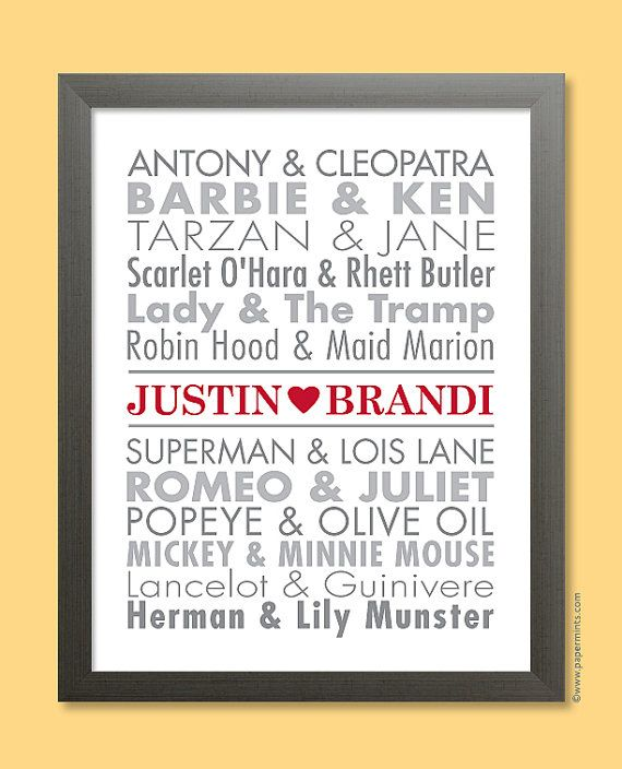 Unique Monogrammed Wedding Gifts: Famous Couples Print Personalized Unique Wedding Gift