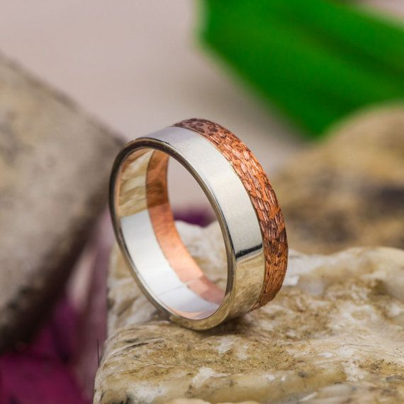 Mix Colors Wedding Band in 14K Rose and White Gold, 14K Gold Wedding Ring, Handmade Jewerly