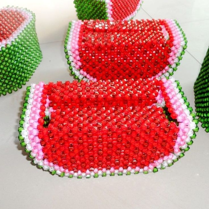 Beaded Watermelon Tissue Box Napkin paper container holder 3D beadwork