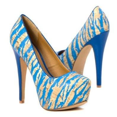 Qupid Women's Blue Zebra High Heel Platform Stilettos Party Shoes Pump, Turquoise Patent Leather, 7.5 M US