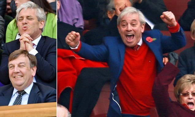 The life of Riley Lived on the backs of the British People John Bercow enjoys Arsenal match from the luxury of the director's box