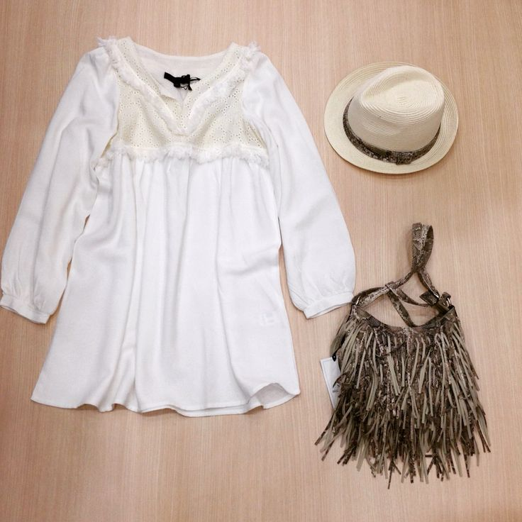 #white dress #fringe bag  #hat  By Miss Accessories