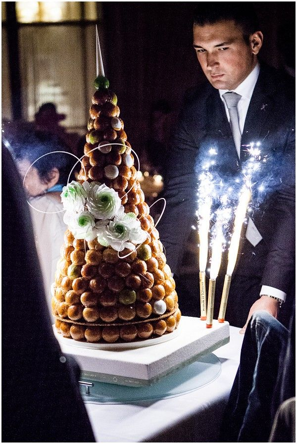 FIreworks on croquembouche / Photography © Catherine O'Hara Photography