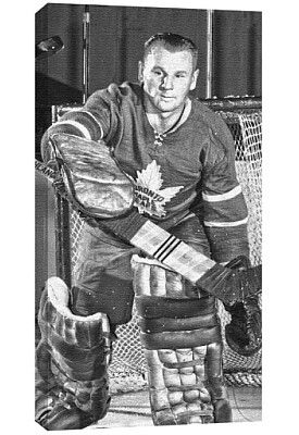 Frameworth Toronto Maple Leafs Johnny Bower Canvas- Black and White Shot - Shop.Canada.NHL.com