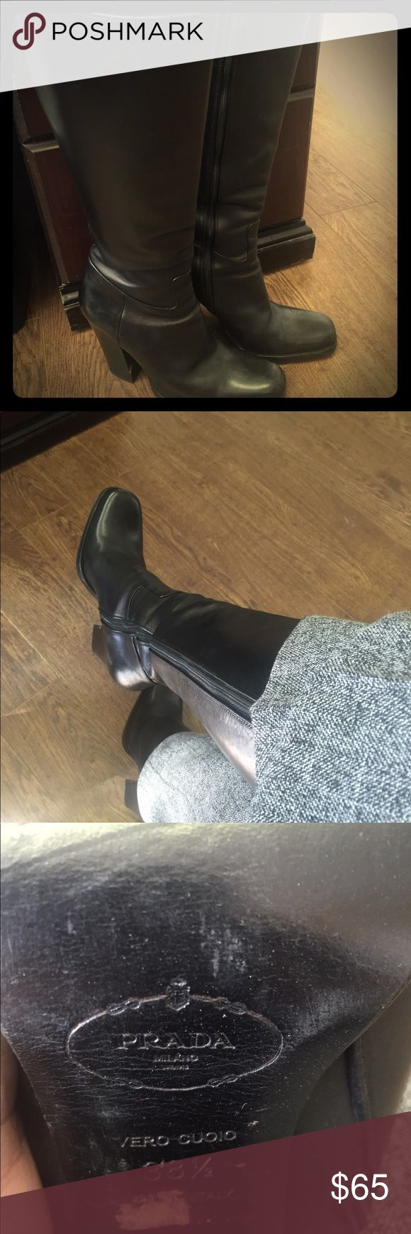 Prada Boots Black Prada leather boots.  4 in heels.   Size 8. Good condition. Small scuff on right heel.  Narrow fit on calves.  Fits tight. Prada Shoes Heeled Boots