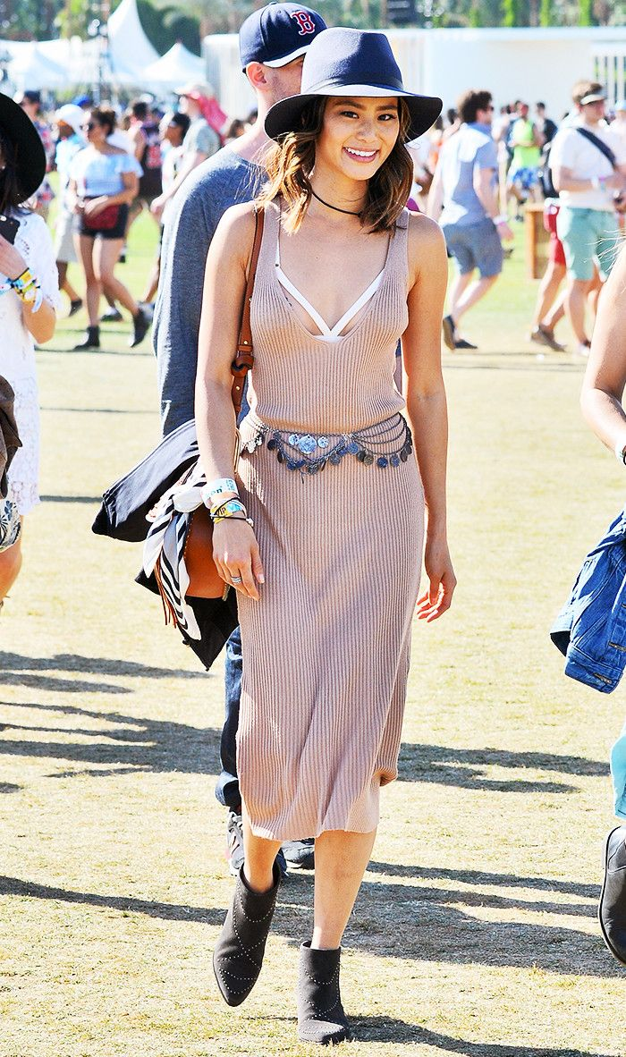 You can still look completely festival-appropriate without wearing a skimpy outfit. See how it's done here.