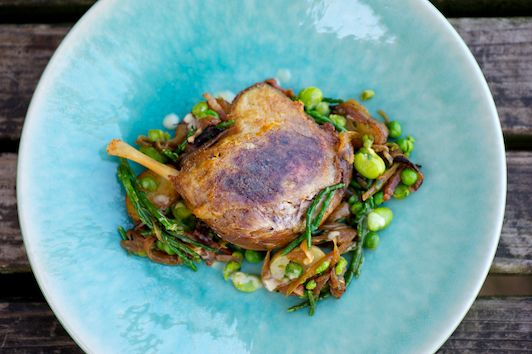 Confit Duck Legs with Potato, Samphire and Broad Bean Salad and Warm Bacon Dressing - the British Larder