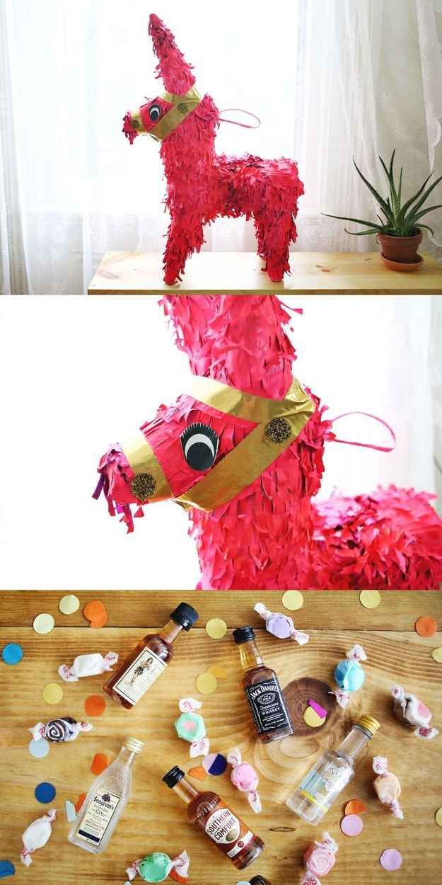 Badass tips for an adult slumber party...Take out your adulthood stress on a piñata filled with goodies.