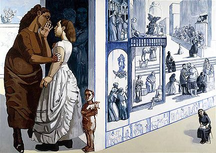 Paula Rego (this is only a portion of the actual piece, BTW, but I'm having trouble finding pictures of it in completion)