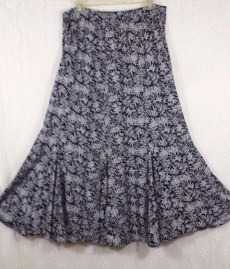 C.J. Banks Black White Floral BOHO Flowy Plus 14 W Long Pleated Skirt  #CJBanks #ALine