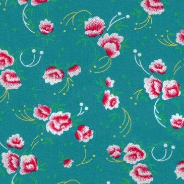 Tissu Petit pan - Coton Petite Pivoine turquoise 100% coton. Largeur : 150 cm Longueur 50 cm 9,00€