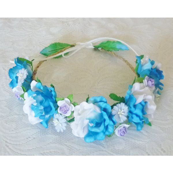 Gerbera rose Flower crown Blue white purple Big rose headpiece mixed... ❤ liked on Polyvore featuring accessories, hair accessories, flower hair accessories, rose flower headband, floral crown headband, flower crown and flower garland headband