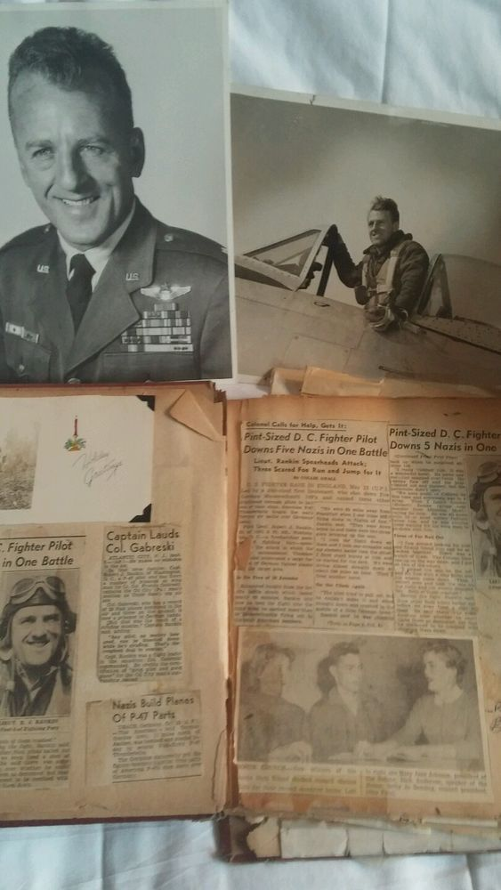 WWII World War II 1944 Thunderbolt Air Fighter Photos Newspaper Clippings Letter