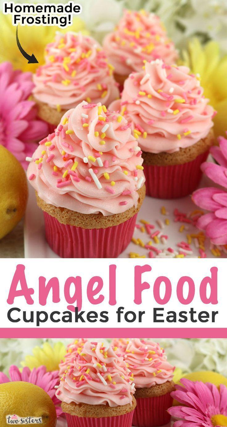 Angel Food Cupcakes For Easter Angel Cupcakes Easter Cheesecakecupcakesrecipe In 2020 Angel Food Angel Food Cupcakes Easter Cupcakes