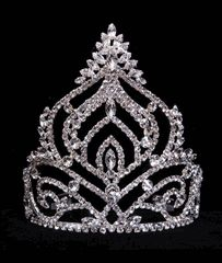 """Navette Mountain Tiara  ~ Approximately 5.75"""" tall and with a 5.25"""" diameter. Plated in Sterling Silver with combs on the ends. Each piece is individually wrapped in plastic. Less than one hundred bucks!"""