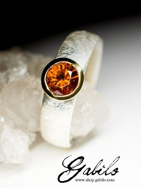 Hessonite Silver Gold Plated Ring art 9568  Natural от Gabilo