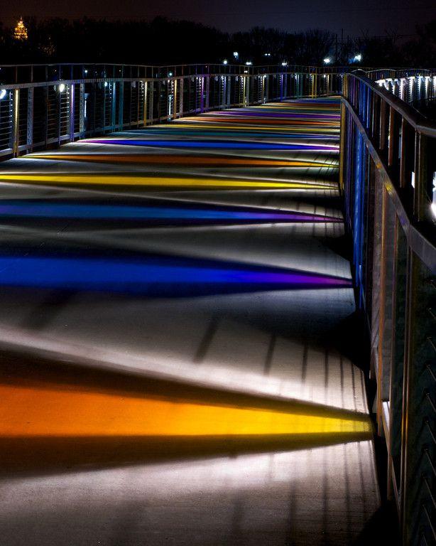 Gray's Lake bridge at night