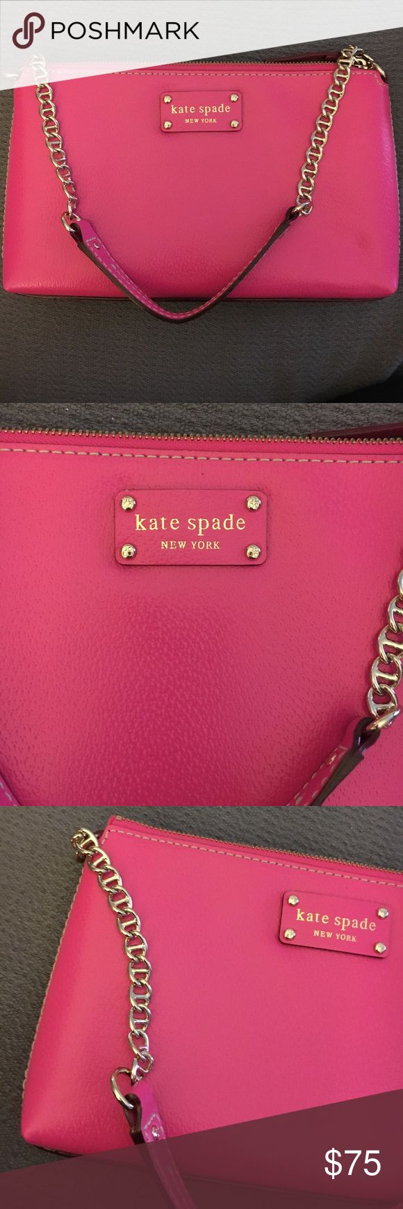 Bright pink Kate Spade clutch bag! This is a bright pink kate Spade small clutch purse that is in perfect condition. Although the tags are not on it, I have never used the bag so it is in brand NEW condition. The exterior is bright pink with gold hardware and the interior is purple and yellow polka dots. The bag is easily big enough to fit a cell phone, wallet, camera, makeup or whatever you choose! Kate Spade logo is shown in picture confirming authenticity! kate spade Bags Mini Bags