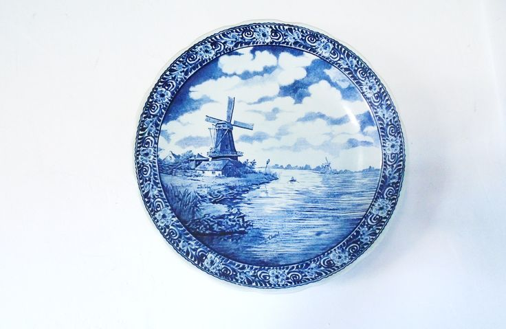"Delft Plate, Delft Windmill, Delft Wall Hanging, Delft Windmill, Boch Belgium, Sphinx Maastricht 15-1/2"" Plate Charger Holland Boch Belgium by AntiqueTalentArt on Etsy"