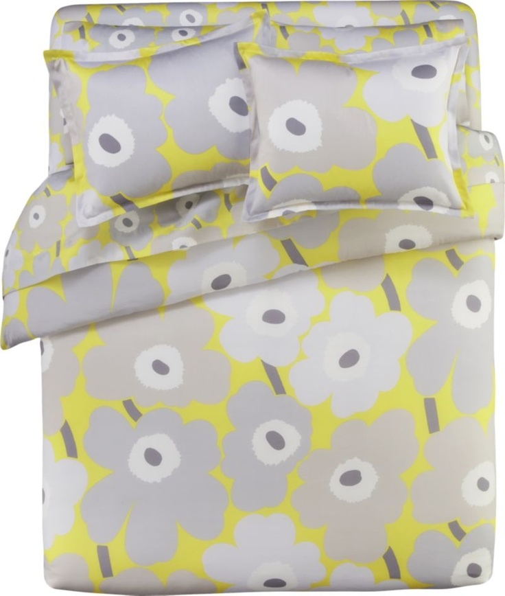 marimekko unikko yellow bed linens in all decorative bedding crate and barrel - Marimekko Bedding