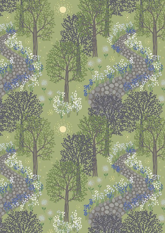 Bluebell Wood by Lewis Irene- Full or Half Yard- Green background with green and purple trees and a cobblestone path with blue flowers