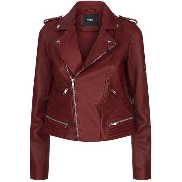 Maje Leather Jacket ($565) ❤ liked on Polyvore featuring outerwear, jackets, red biker jacket, maje jacket, maje, biker style jacket and leather jackets