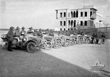 Battle of Aleppo (1918) - No. 1 Australian Light Car Patrol at Aleppo railway station