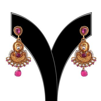 Fuchsia, White and Golden Stone Studded Earring