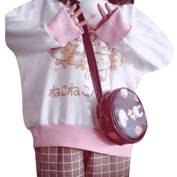 女性原宿スタイル2017秋ラブリーcatプリント緩い長袖プルオーバースウェットシャツホワイト&ピンクコントラスト色送料無料