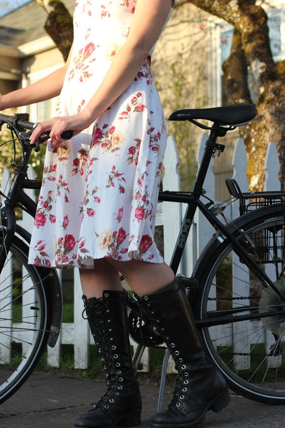 Living The Dream Of The Nineties in Portland - flowered dress + combat boots