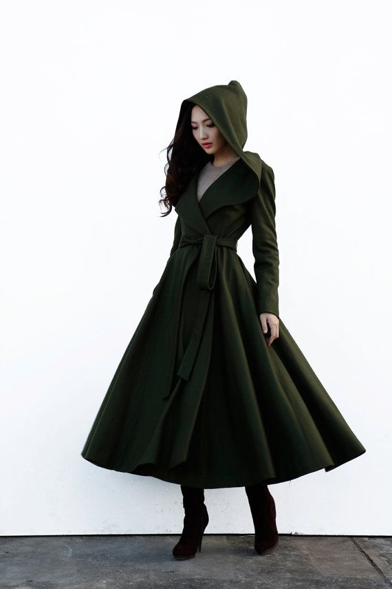 Army Green Maxi Wool Coat With An Oversized Hood Women