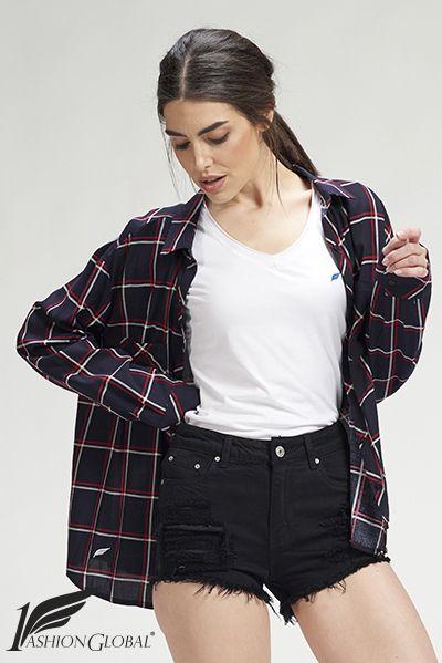 Camisa de cuadros de mujer manga larga, con dos bolsillos, de algodón. 27.50€ ENVÍOS A TODO EL MUNDO. PAGOS: tarjetas crédito y débito.  https://www.1fashionglobal.net/todomodaonline/tienda/