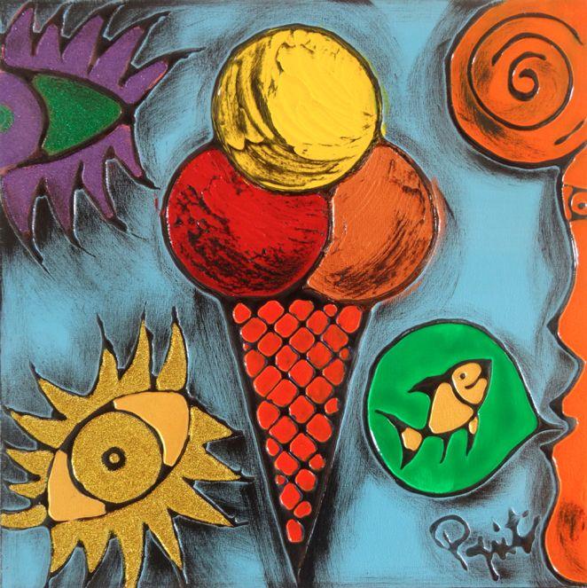 TENTAZIONI #03 - 40x40 cm. - Acrilic on canvas  #ICECREAM #TENTAZIONI #TEMPTATIONS