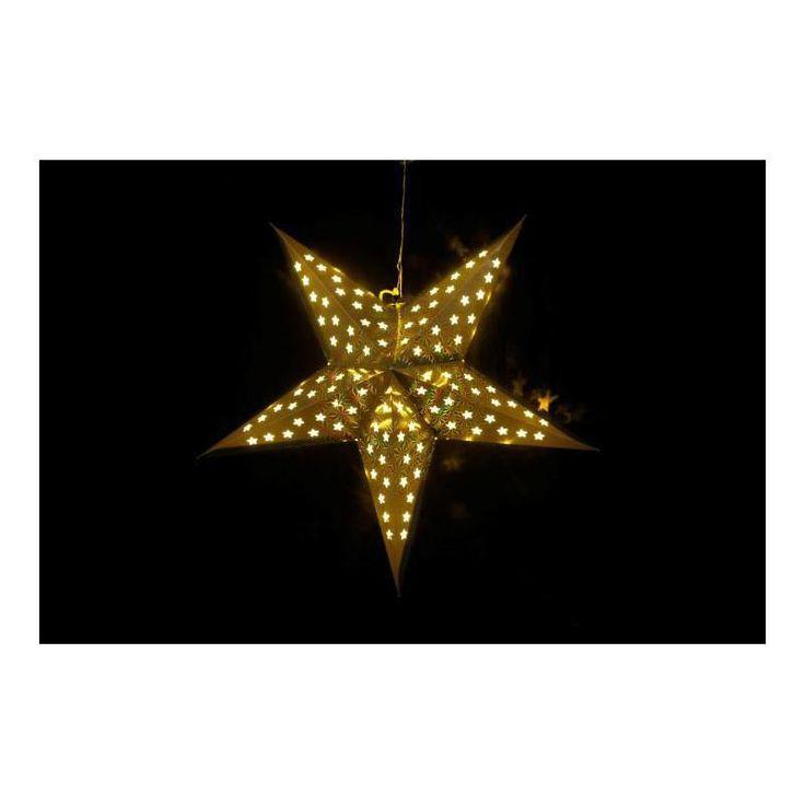 Vánoční interiérová dekorace hvězda s časovačem 60 cm 10 LED, zlatá, na baterie - www.guge.cz