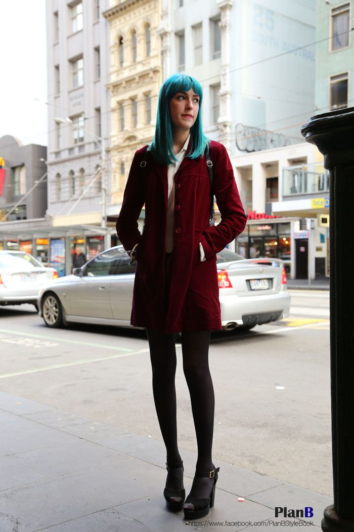 She's very beautiful. She's very tall. Her hair color really lovely.  Melbourne street fashion