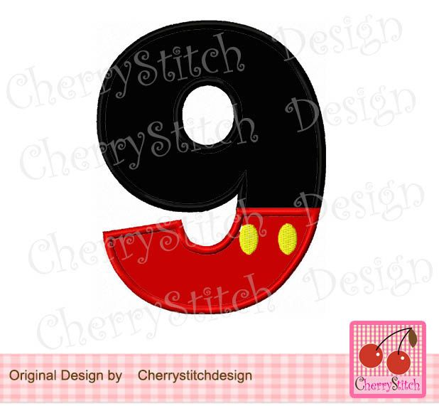 Mickey Number 8 Applique Mickey Embroidery Design Birthday